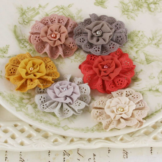 NEW 2012  Nanette Flowers in Attic - Lacy Flowers with Rolled Fabric Centers - Prima - 557270