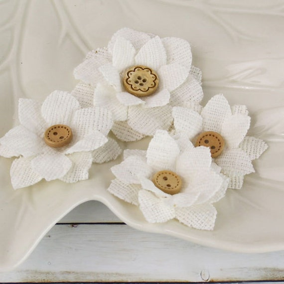 SALE Primmers in Bleached White - Soft Fabric Flowers with Wood Buttons - Prima - 558352