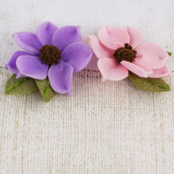 NEW 2012  Sassy Flowers in Petunia - Soft Pink and Purple Felt Flowers - Prima - 558536