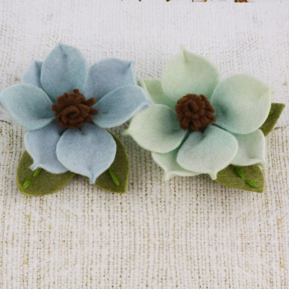 Prima Sassy Flowers in Aqua - Soft Blue and Green Felt Flowers - Prima - 558543