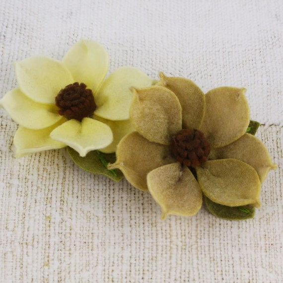 NEW 2012  Sassy Flowers in Butternut - Soft Yellow and Green Felt Flowers - Prima - 558574