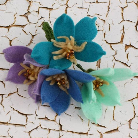 SALE Prima Cassie Flowers in Periwinkle -  3D Pretty Felt Flowers - Prima - 2pcs - Ships IMMEDIATELY from California - 558758