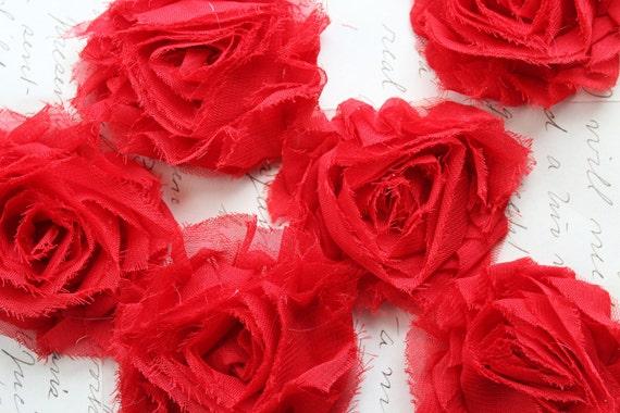 6pcs Shabby Red Chiffon Fabric Rosette Flowers - ROS3