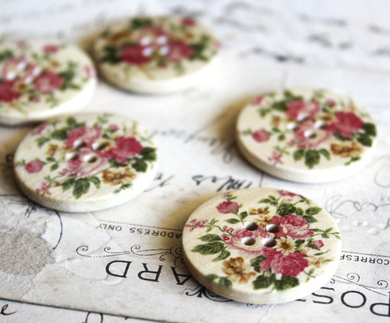 6pcs Painted Wood Floral Buttons 30mm - Ships Immediately from California - W08