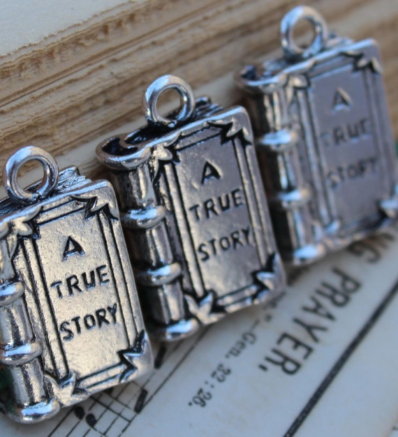 A True Story Book Antique Silver Charms 27x16mm 3pcs - Ships IMMEDIATELY  from California - SC163