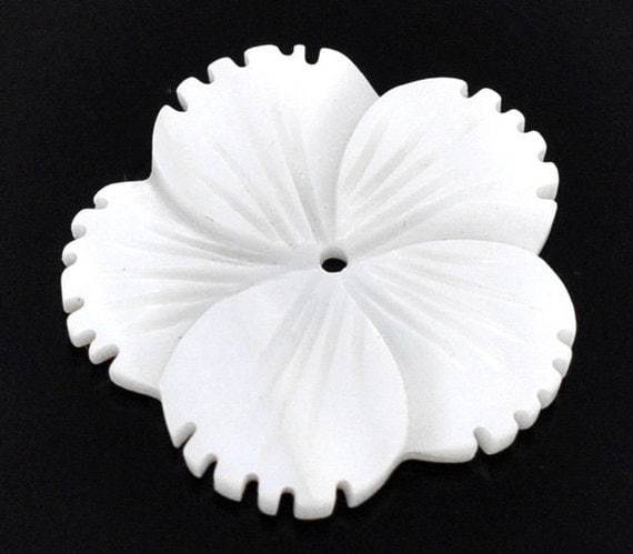 Flower Shell Beads White Carved  25x24mm 3pcs - Ships IMMEDIATELY  from California - B61