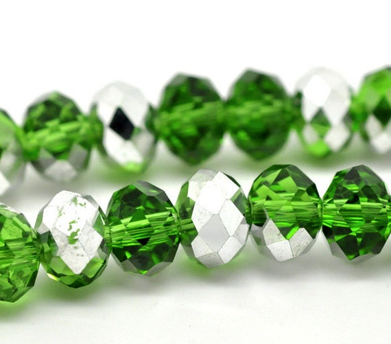 Silver/Green Rondelle Beads - Crystal Glass - Faceted - Loose - 8mm - 1 Strand (Approx. 72pcs) - Ships IMMEDIATELY from California - B69