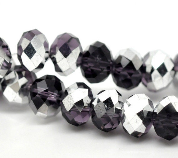 72 Rondelle Beads Silver Purple - 8mm - Crystal Faceted - 1 Strand - Ships IMMEDIATELY  from California - B70