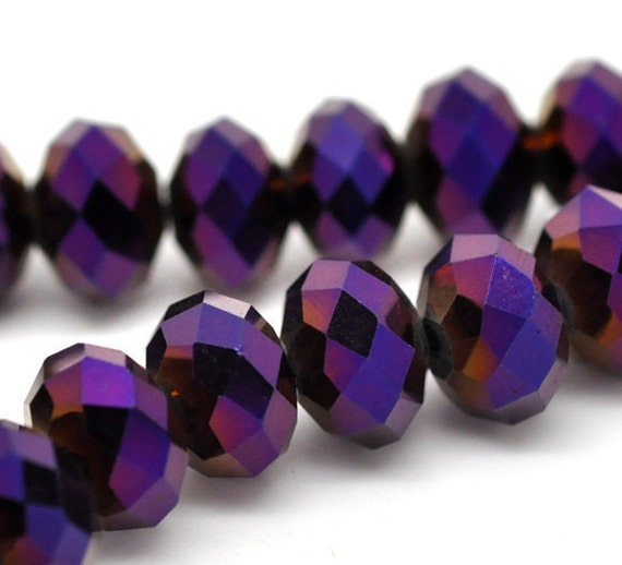 72 Purple Beads AB Color Crystal Faceted Rondelle Beads 8mm - 1 Strand - Ships IMMEDIATELY from California - B73