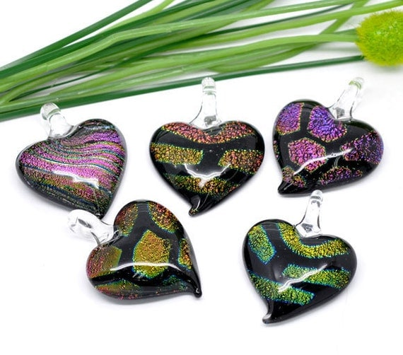 Lampwork Glass Love Heart Charms Assorted 5pcs 45x34mm Ships IMMEDIATELY from California - G13