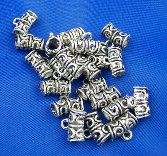 20pcs Antique Silver Bail Tube Bead Findings 12x9mm Ships Immediately from California - B76