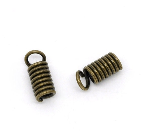 Coil End Fasteners -200pcs 8x4mm - Fits 2mm Cord - Antique Bronze - Ships IMMEDIATELY  from California - F54