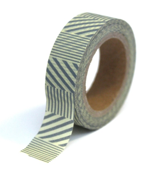 Japanese Washi Tape - Grey and Cream Stripes - 15mmx10m - TP07