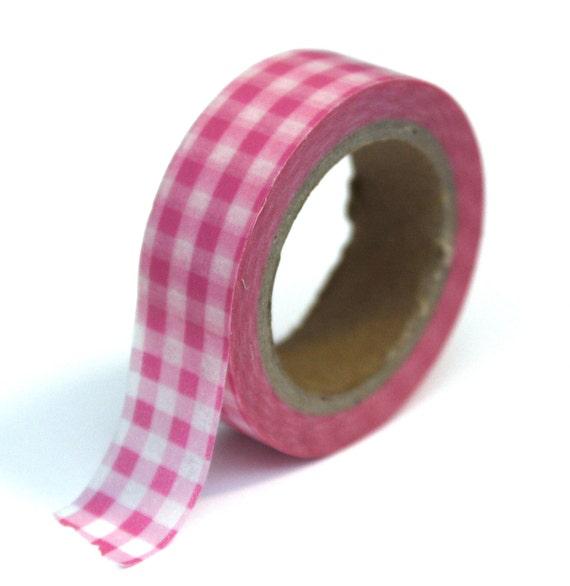 Japanese Washi Tape - Pink Gingham Plaid - 15mmx10m - TP22
