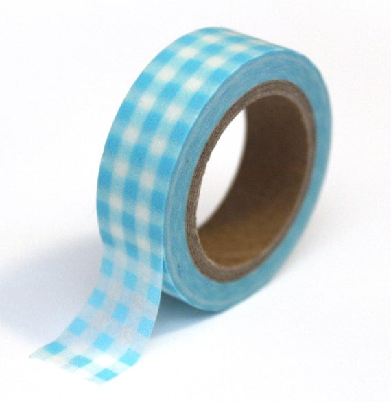 SALE Japanese Washi Tape - Blue Gingham Plaid - 15mm x 10m - TP23