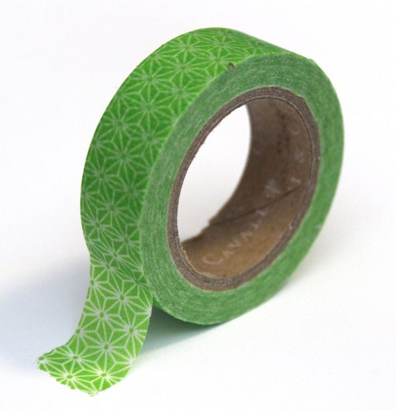 Japanese Washi Tape - Green Star Abstract - 15mmx10m - TP43