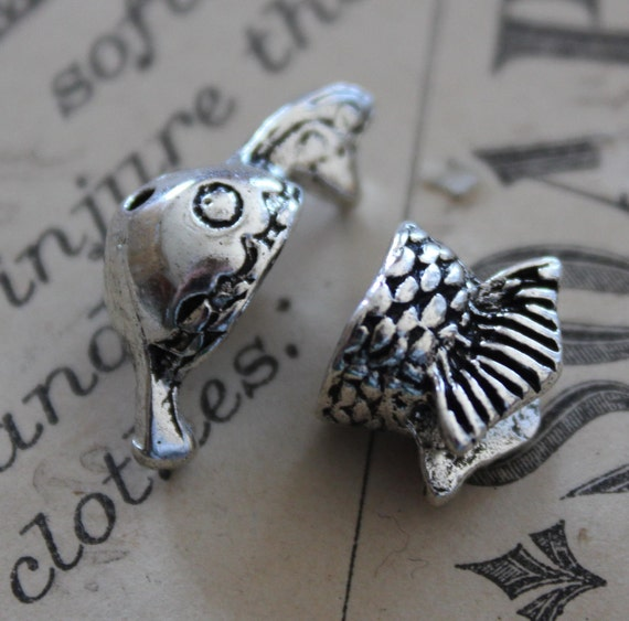 2Sets  Antique Silver Fish Charm Bead Cap Set 8x10mm- Ships Immediately from California - SC201