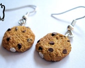 Polymer Clay Chocolate Chip Cookies HOOK Earrings
