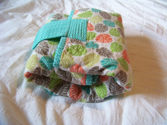 All In One Travel Diaper Changing Pad - 100% Cotton - Unisex - Teal, Green, Orange, Brown, Tan and White - Velcro Closure