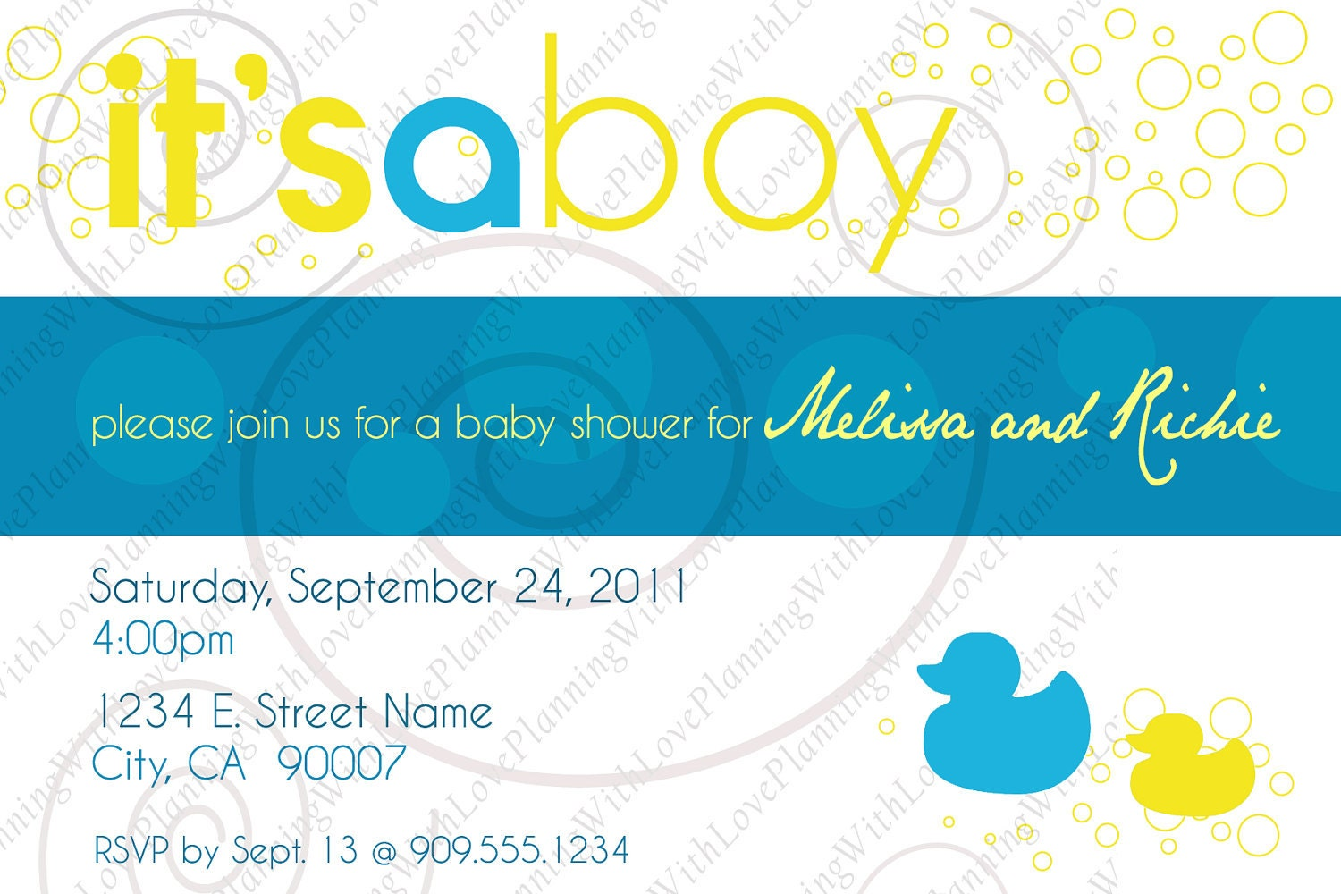 rubber ducky baby shower invitation by planningwithlove on etsy