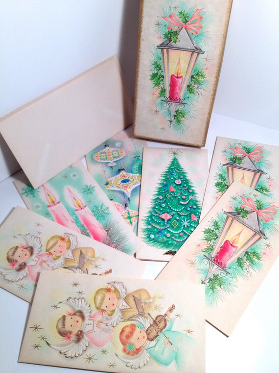 Vintage Box of Christmas Cards UNSIGNED Lot of 7 parchment crds with 6 envelopes