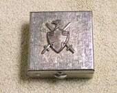Vintage Pill Box Motif Eagle Swords Cross Shield 1950s