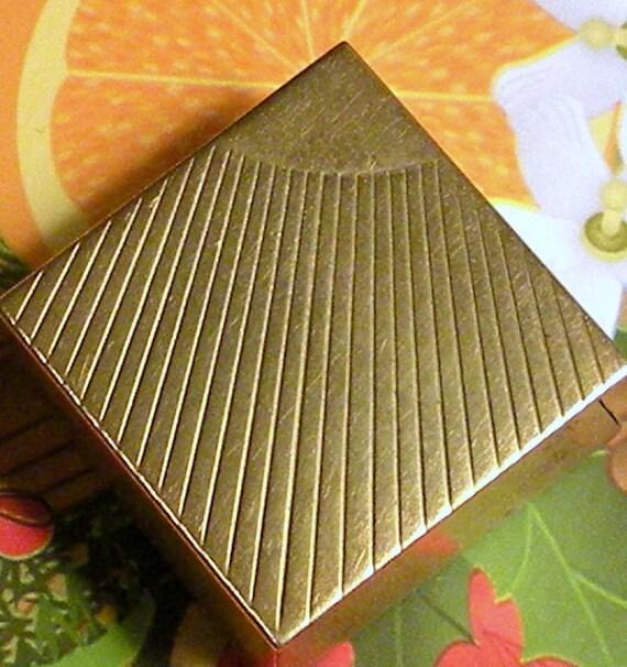 Vintage Pill Box Sunshine Rays Hinged Metal Trinket Box