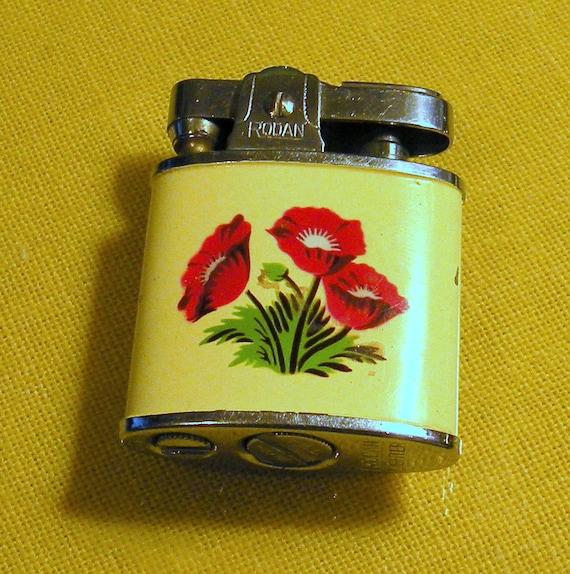 Pocket Lighter by Rodan Red Poppies Japan 1960s