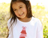 Holiday Christmas Shirt DIY Iron On Transfer for Girls - Custom Personalized Children's Modern Christmas Tree with Bow Topper