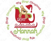 First Christmas Shirt DIY Iron On Transfer for Girls - Custom Personalized Teddy Bear on Sled with Year 2011