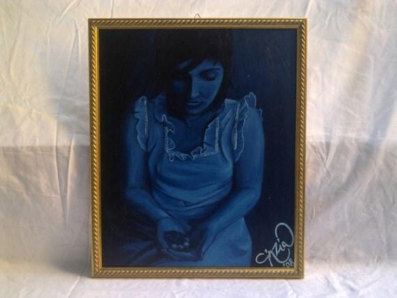 Ragazza nel buio - Original oil on canvas