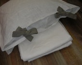Flax Bedding Linen Set... Linen Duvet Cover and Two Pillowcases Stonewashed Eco friendly - Custom size