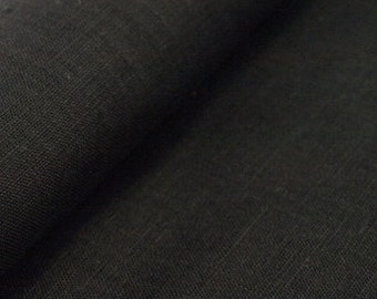 Natural Pure Linen Black Fabric 59 inch ECO-friendly - One yard