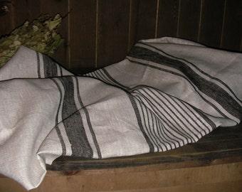 TOWEL Huckaback Hand Towel Grey 100% Linen Handmade New ECO-friendly