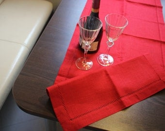 Linen Table Runner Christmas Bordeaux hemstitch Organic Flax Handmade - Eco-friendly