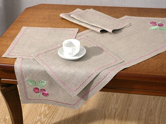 Linen Table Runner and 4 Napkins set Gray Grey embroidery Organic Flax Handmade ECO-friendly