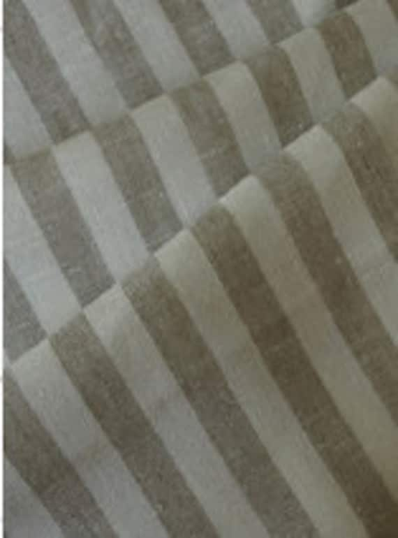 Vintage look Natural Linen fabric Striped Gray Eco-friendly - 3 m