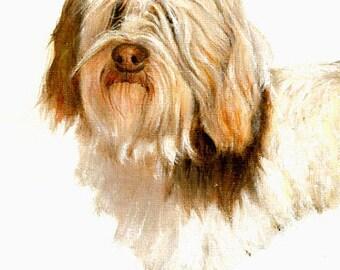 Original Oil DOG Portrait Painting LOWCHEN Artwork from Artist