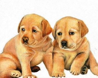 Original Oil DOG Portrait Painting YELLOW LAB Puppy Art from Artist
