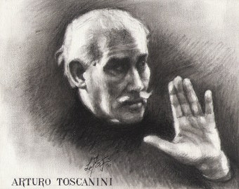 Original Portrait Painting ARTURO TOSCANINI Conductor MUSICIAN Art