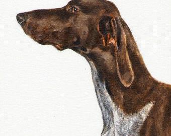 Original Oil DOG Portrait Painting GERMAN POINTER Art from Artist