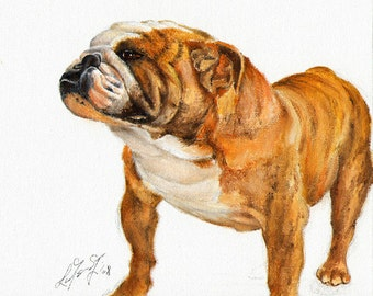 Original Oil DOG Portrait Painting ENGLISH BULLDOG Art from Artist
