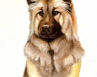 Original Oil DOG Portrait Painting EURASIER Art from Artist
