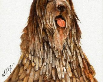 Original DOG Oil Portrait Painting BERGAMASCO SHEEPDOG Artwork from Artist