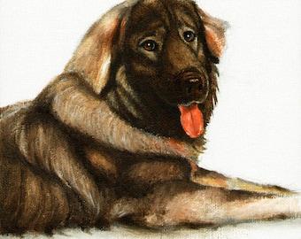 Original DOG Oil Portrait Painting SARPLANINAC Artwork from Artist