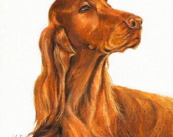 Original DOG Oil Portrait Painting IRISH SETTER Artwork from Artist