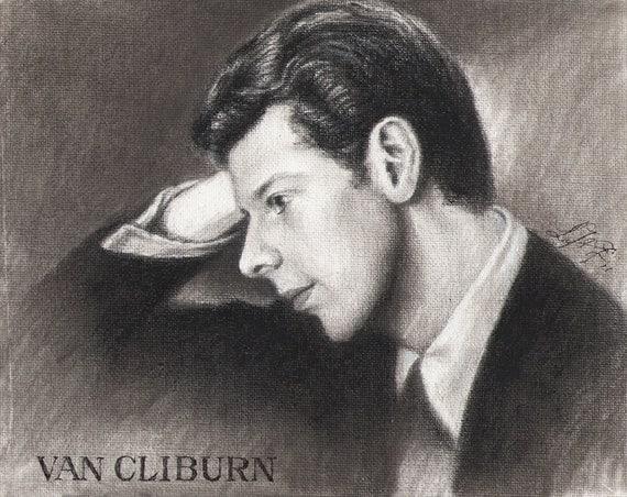Original Charcoal Portrait Painting VAN CLIBURN Pianist MUSICIAN