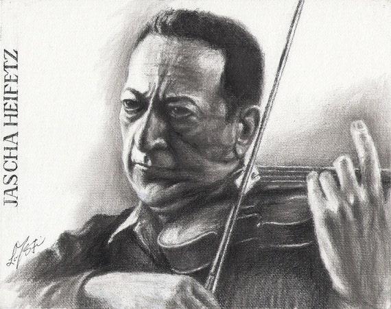 Original Portrait Painting JASCHA HEIFETZ Violinist Musician