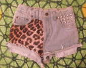 Leopard Print High Waisted Vintage Levi Denim Shorts