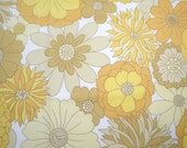 Vintage fabric, fat quarter, yellow, orange and brown floral, uk seller